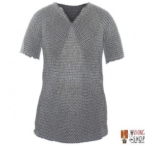 """Chainmail Haubergeon - Wedge Riveted - Flat Ring - 60"""" Chest"""